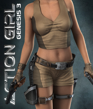 Exnem Action Girl for G3 3D Figure Assets exnem