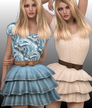 Sweet Country Dress 3D Figure Assets WildDesigns