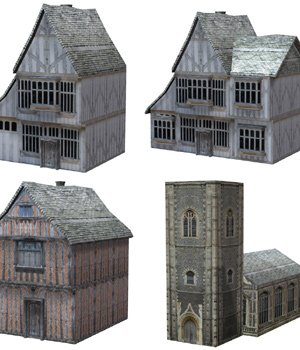 Low Polygon Medieval Buildings 4 (for Poser) 3D Models VanishingPoint