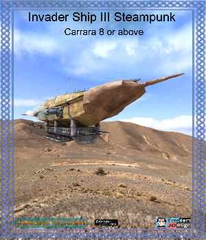 Invader Ship III Steampunk Carrara 3D Models JeffersonAF