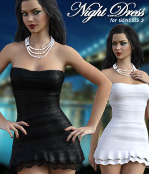 Night Dress For Genesis 3 3D Figure Assets mytilus