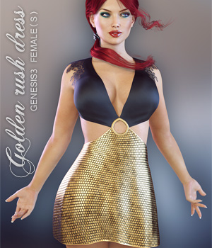 Golden Rush Dress for Genesis 3 Female(s) 3D Figure Essentials lilflame