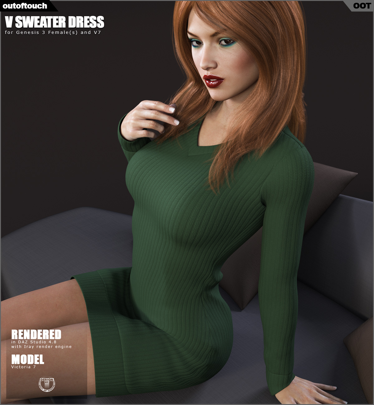 V Sweater Dress for Genesis 3 Female(s)