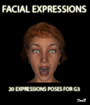 Facial expressions for G3F 3D Figure Assets TheCava