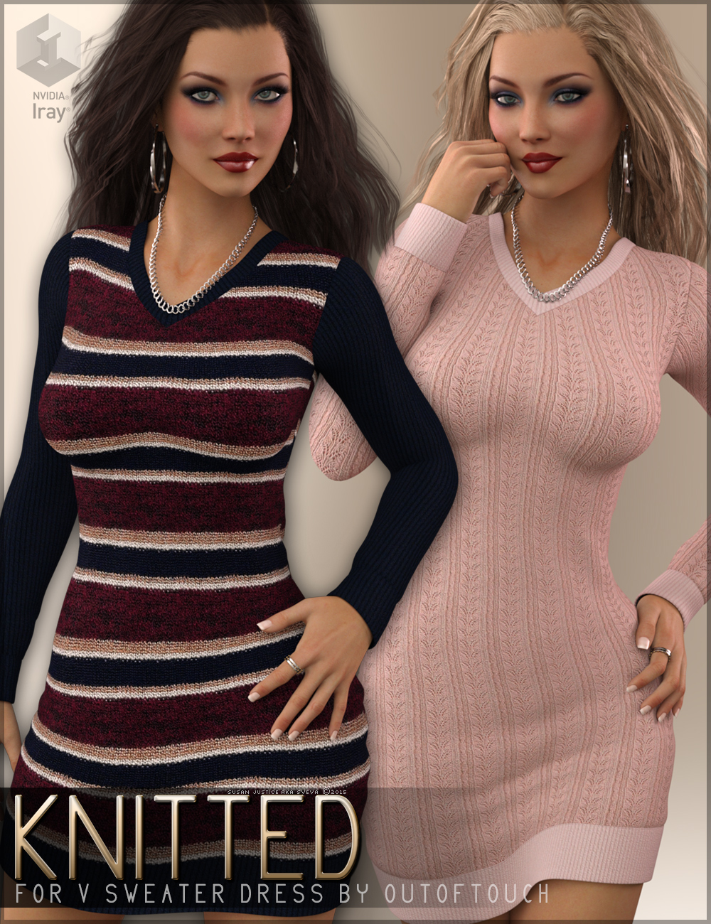 Knitted for V Sweater Dress G3F