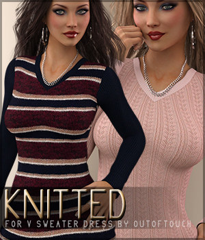 Knitted for V Sweater Dress G3F 3D Figure Essentials Sveva