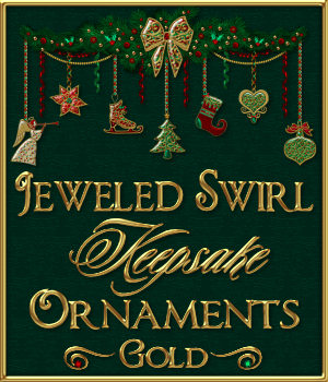 Jeweled Swirl Keepsake Ornaments: GOLD 2D Merchant Resources fractalartist01