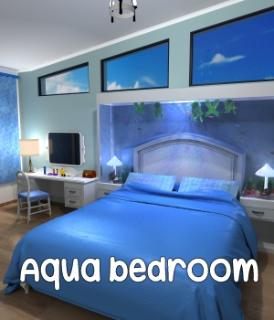 Aqua bedroom - Extended License 3D Models Extended Licenses greenpots
