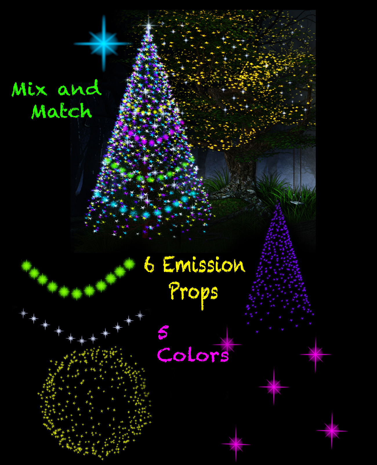 christmas and fairy star lights for poser emissive light props