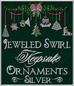 Jeweled Swirl Keepsake Ornaments: SILVER 2D Graphics Merchant Resources fractalartist01