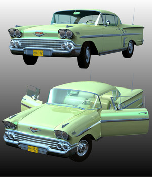 CHEVROLET IMPALA 1958 ( Poser and .OBJ ) by Nationale7