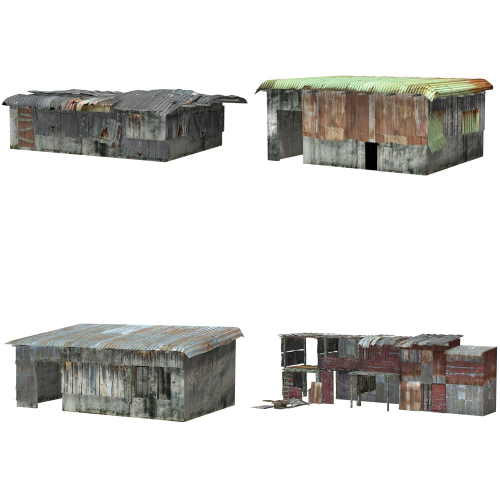 Shanty Town Buildings 1: Set 4 for Poser