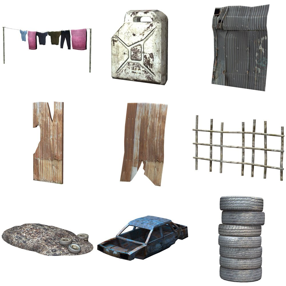 Shanty Town Buildings 1: Accessories for Poser