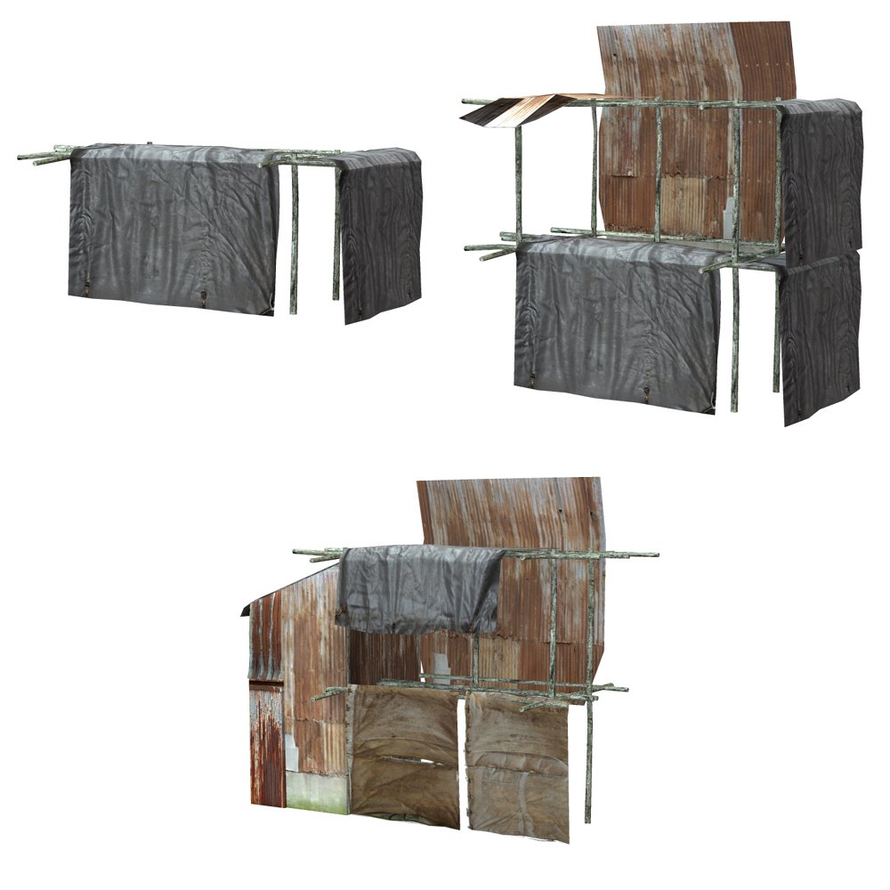 Shanty Town Buildings 1: Set 5 for Poser