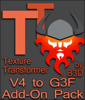 V4 to G3F Add-On pack for Texture Transformer 3D Software : Poser : Daz Studio Blacksmith3D