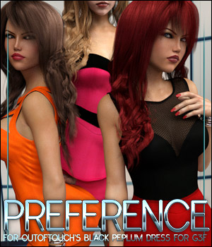 Preference for Black Peplum Dress 3D Figure Assets ShanasSoulmate