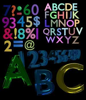 ABC-123 Letters Numbers and Symbols for Poser 6-11 3D Models labellamagica
