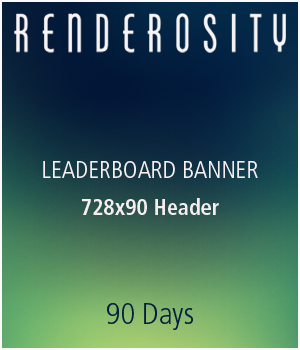 Renderosity 728x90 Leaderboard Banner :: 3 Months Services/Rosity Stuff renderositymarketing