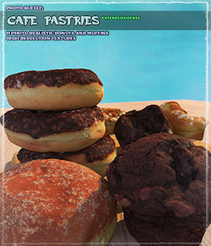 Photo Buffet: Cafe Pastries - Extended License 3D Models Gaming Extended Licenses ShaaraMuse3D