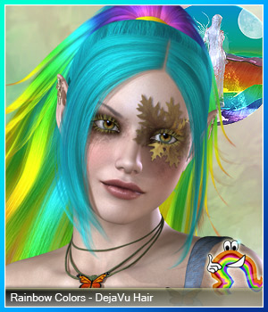 Rainbow Colors - DejaVu Hair 3D Figure Essentials RenderFantasy