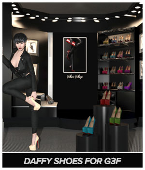 Daffy Shoes for G3F 3D Figure Essentials ICRDesign