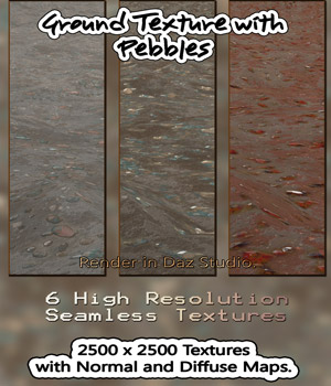 6 Seamless Ground Textures with Pebbles - Normal and Diffuse Maps Included 2D 3D Figure Essentials nelmi