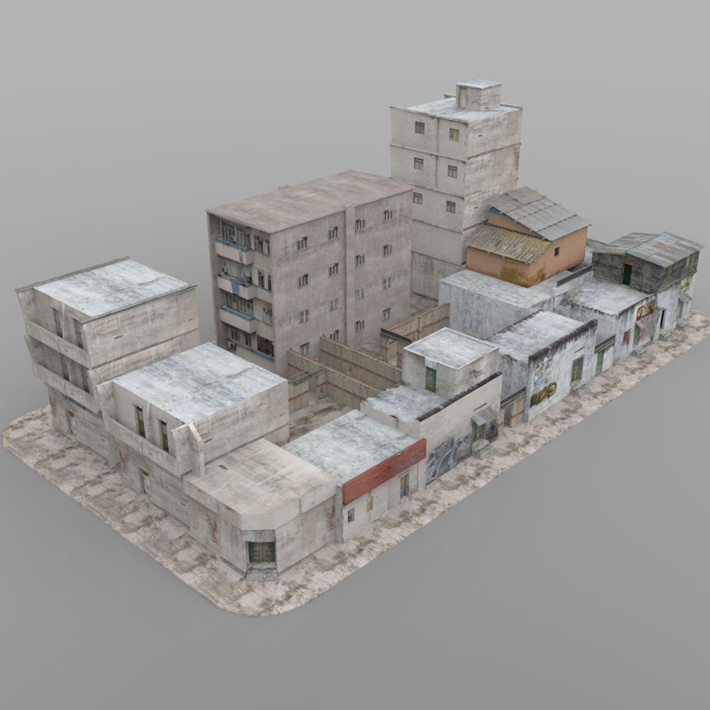 Shanty Town Buildings 2: City Block A for Poser