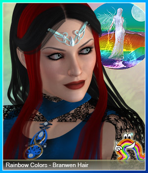 Rainbow Colors - Branwen Hair 3D Figure Essentials RenderFantasy