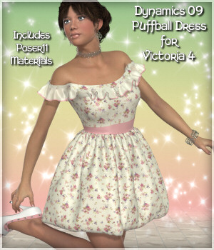 Dynamics 09 -Puffball Dress for Victoria 4 3D Figure Essentials Lully