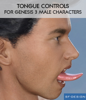Tongue Controls for Genesis 3 Male Characters 3D Figure Essentials SF-Design