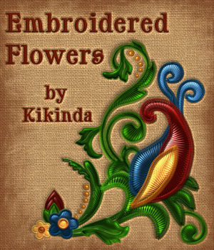 Victorian Embroidered Flowers 1 2D kikinda