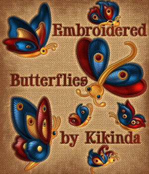 Embroidered Butterflies 2D kikinda