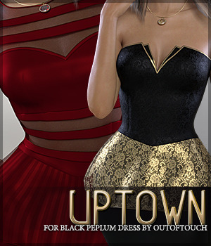 Uptown for Black Peplum Dress 3D Figure Assets Sveva