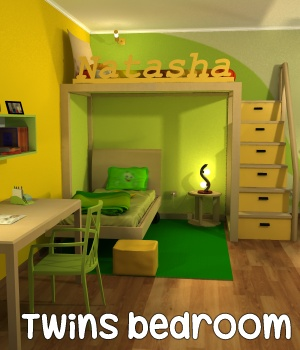 Twins bedroom - Extended License 3D Models Extended Licenses greenpots