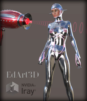 Pin-Up Gynoid Phase1 Morphing Raygun & Poses 3D Figure Essentials 3D Models EdArt3D