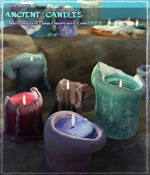 Photo Props: Ancient Candles 3D Models ShaaraMuse3D
