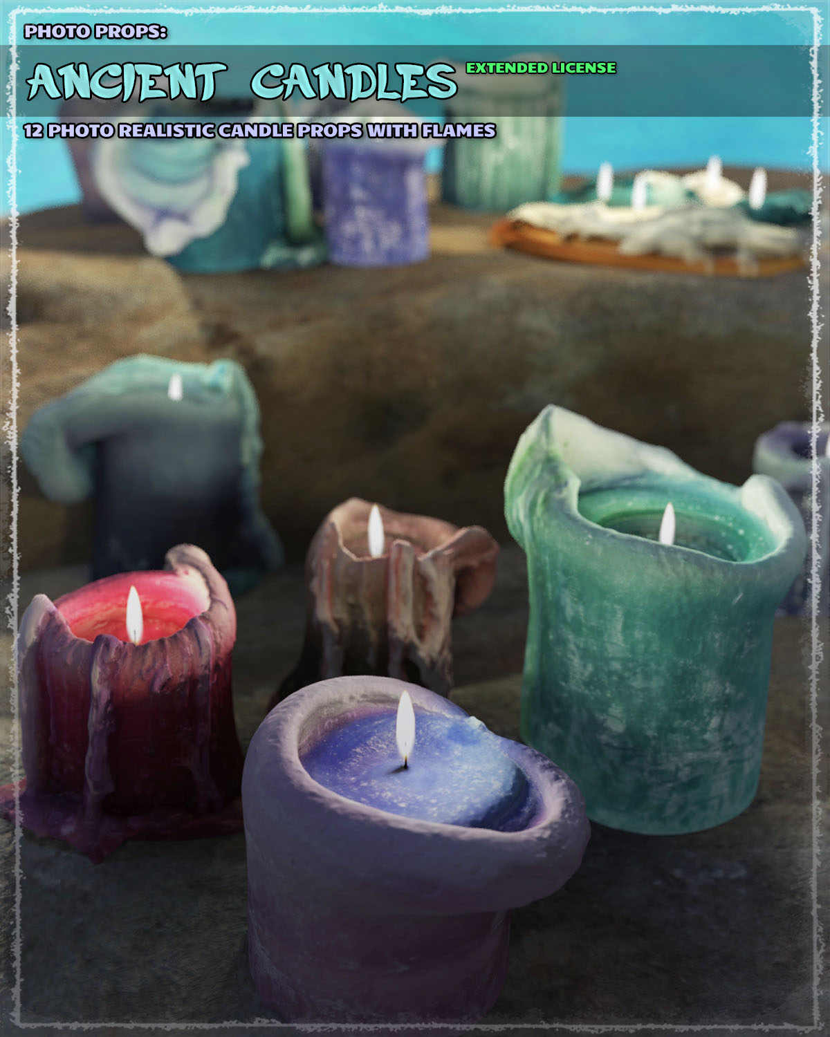 Photo Props: Ancient Candles - Extended License by ShaaraMuse3D