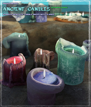 Photo Props: Ancient Candles - Extended License 3D Models Gaming Extended Licenses ShaaraMuse3D