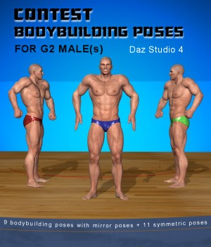 Bodybuilding poses for G2 males 3D Figure Assets aldebaran086