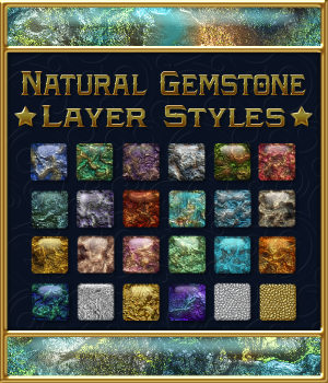 Natural Gemstone Layer Styles 2D Merchant Resources fractalartist01