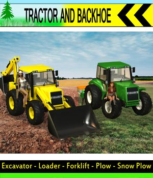 Tractor and Backhoe 3D Models apcgraficos