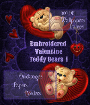 Embroidered Valentine Teddy Bear 1 2D kikinda