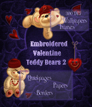 Embroidered Valentine Teddy Bear 2 2D kikinda
