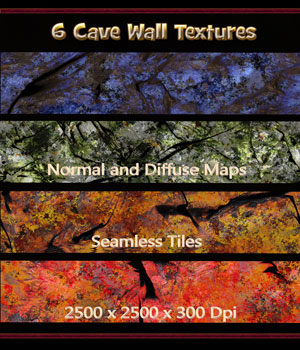 6 Seamless Cave Wall Textures with Normal and Diffuse Maps 2D Graphics nelmi