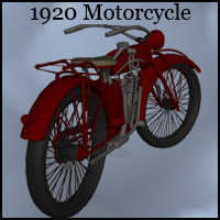 1920s Motorcycle (OBJ & Poser) - Extended License 3D Models Gaming Extended Licenses RPublishing
