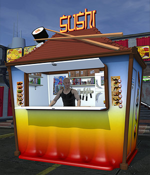Urban Jungle_Sushi Kiosk - Extended License 3D Models Extended Licenses coflek-gnorg