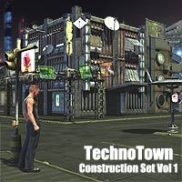 Techno Town Construction Set Vol 1 - Extended License 3D Models Gaming Extended Licenses coflek-gnorg