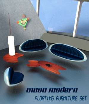 Moon Modern Floating Furniture Set 3D Models dhouck