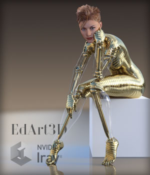 Pin-Up Gynoid Phase3 for G3F Base & Pin-Up Gynoid 1&2 3D Figure Essentials 3D Models EdArt3D