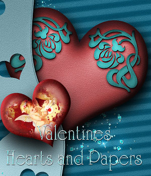 Valentines Hearts and Papers 2D Graphics antje